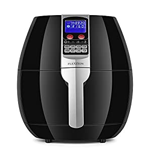 Flexzion Electric Air Fryer Cooker - Healthy Oil Less Dry Fryer Hot Air Steam Fryer with Digital Control Button Screen, Detachable Fry Basket 1500W, 3.5 Liter (Black)