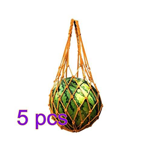 TiTa-Dong 5 Pcs Melon Hammocks,Washable Reusable Shopping Organizer Soccer Ball Net Bag Protection Cradles Nets for Cantaloupe Watermelon(Yellow) ()