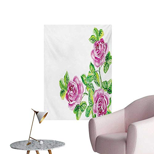 ParadiseDecor Watercolor Flower Photographic Wallpaper Picturesque Glamour Dramatic Rose Figures with Cracked Effect Natural ArtPink Green W32 xL36 The Office Poster ()