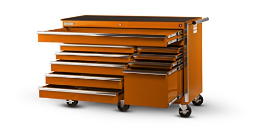 International VRB-5610OR 56-Inch 10 Drawer Orange Tool Cabinet with Heavy Duty Ball Bearing Drawer Slides