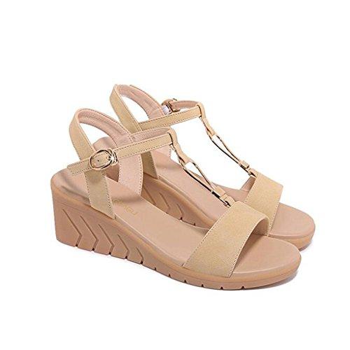 Sandales Été PU Supérieur Tête Ronde Pente Loisirs Bout Ouvert Chaussures pour Femmes Abricot