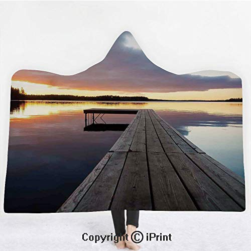 """Art 3D Print Soft Hooded Blanket Boys Girls Premium Throw Blanket,View of Sunset Over an Old Oak Deck Pier and Calm Water of The Lake Horizon Serenity,Lightweight Microfiber(Kids 50""""x60"""") Multi"""