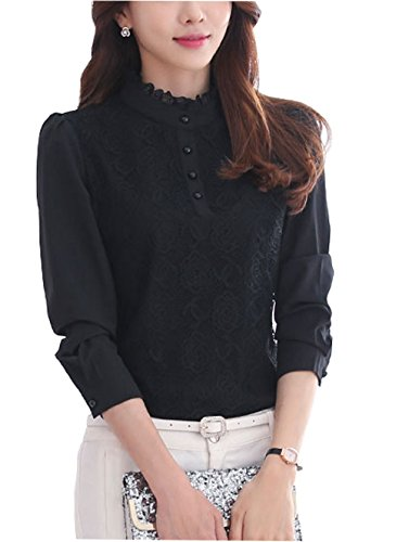 Women's Vintage Flower Lace Front Cuffed Polo Shirt Long Sleeve Black 6
