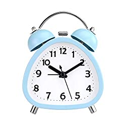 PILIFE 3 Small Analog Twin Bell Alarm Clock, Cute Triangle Shape with Backlight and Loud Alarm to Wake You Up, Silent Working Perfect for Bedroom and Work, Battery Operated (Blue)