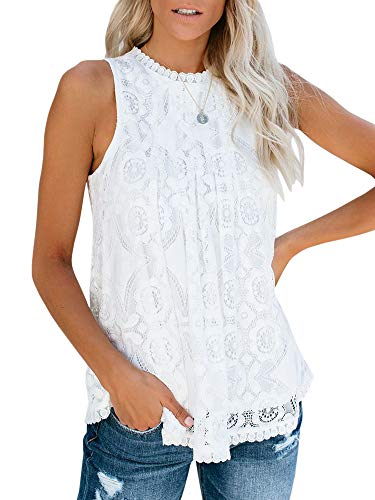 Valphsio Womens Lace Crochet Tank Tops Sleeveless Halter Scallop Clubwear Blouse Tops (Large, X-White)