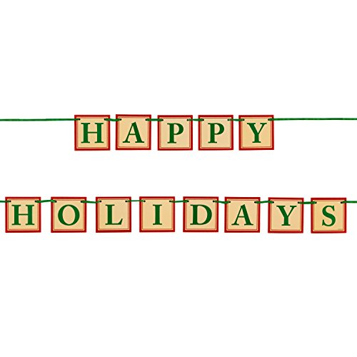 JAM Paper Party Banners - Happy Holidays Glitter Banner - 6.5 Feet Long - 1 Banner/Pack