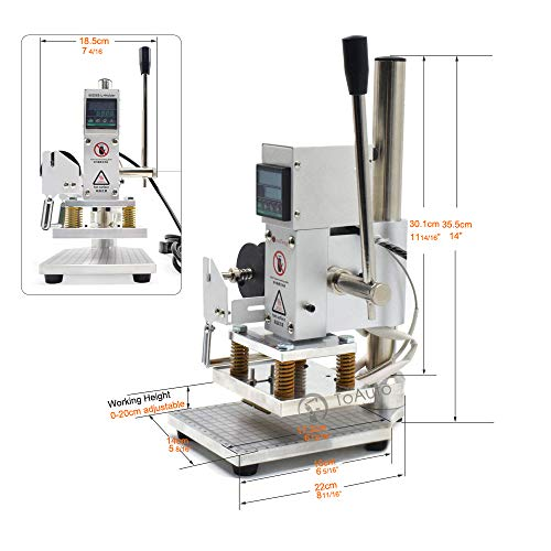 Upgraded Hot Foil Stamping Machine 10x13cm Leather Bronzing Pressure Mark Machine 110V withFull Scale onTheBasePlate for PVC Leather PU Paper Logo Embossing by FASTTOBUY (Image #1)