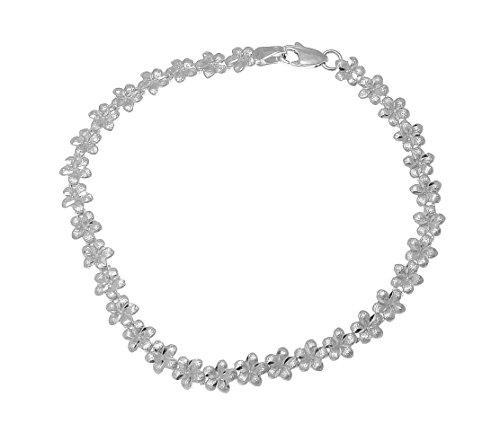 Arthur's Jewelry Solid 14k white gold Hawaiian plumeria flower bracelet 5.5mm 7.25
