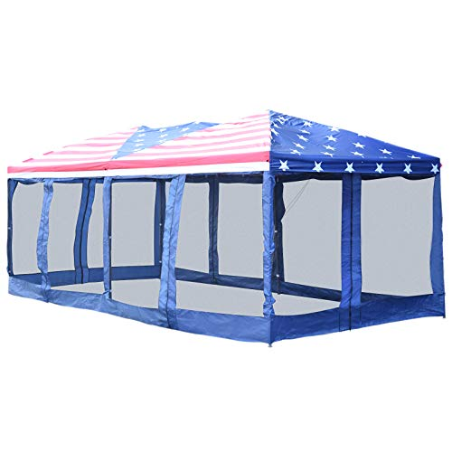 (Outsunny 10' x 20' Pop Up Party Tent Gazebo Wedding Canopy with Removable Mesh Sidewalls - American Flag Print )