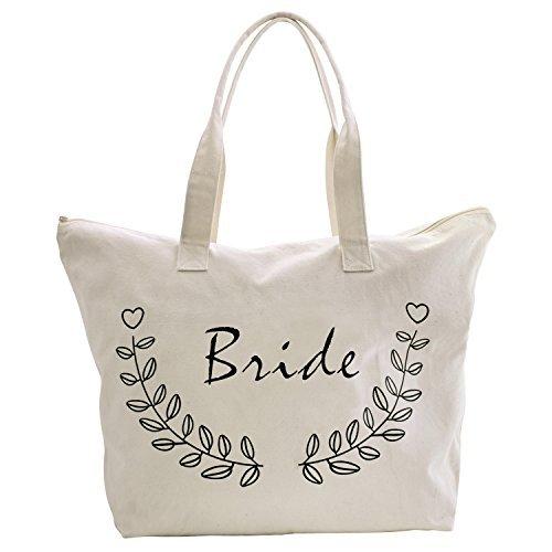 ElegantPark Bride Tote Bag for Wedding Bridal Shower Gifts Zip Canvas Cotton]()