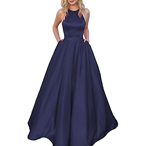 Womens Halter A-Line Beaded Satin Formal Evening Prom Dress Ball Gown Long With Pockets Size 14 Navy Blue