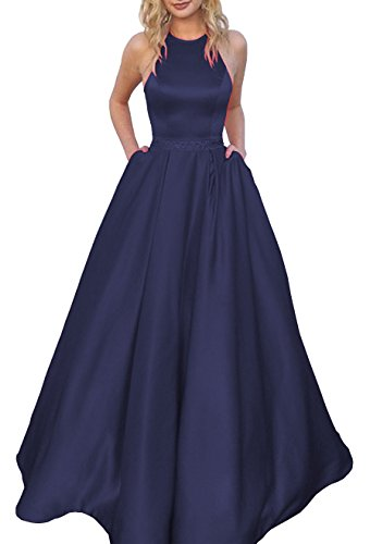 Women's Halter A-line Beaded Satin Formal Evening Prom Dress Ball Gown Long with Pockets Size 4 Navy Blue