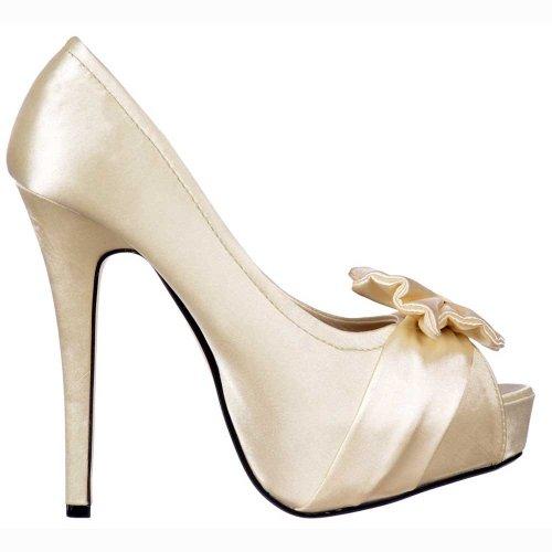 Onlineshoe Señoras Mujeres Peep Toe Zapatos de novia de la boda - lazo de satén - Satén Marfil Satén Color Marfil