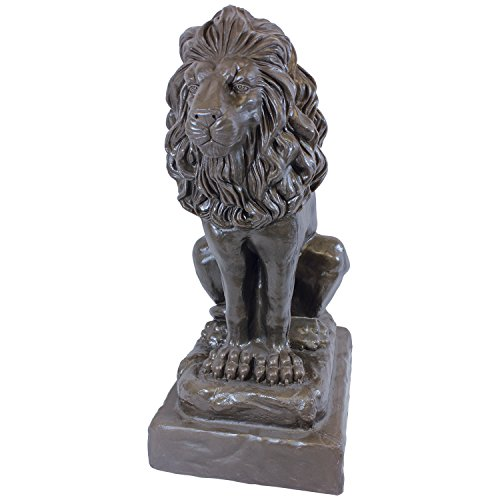 """Emsco Group 92210 Guardian Lion Statue – Natural Appearance – Made of Plastic Resin – Lightweight – 28"""" Height Garden, BRONZE by Emsco Group"""