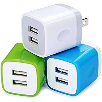 USB Wall Charger, Charging Plug HopePow 3-Pack USB 5V/2.1A Home Travel Wall Charger Adapter Plug for iPhone 7, 7 plus, 6, 6s, 5, 5S, iPad, iPod, Samsung S5 S6 S7 Edge, Google Pixel, HTC, LG, NOKIA