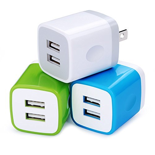 USB Wall Charger, Charging Plug HopePow 3-Pack USB 5V/2.1A Home Travel Wall Charger Adapter Plug for iPhone 7, 7 plus, 6, 6s, 5, 5S, iPad, iPod, Samsung S5 S6 S7 Edge, Google Pixel, HTC, LG, NOKIA ()