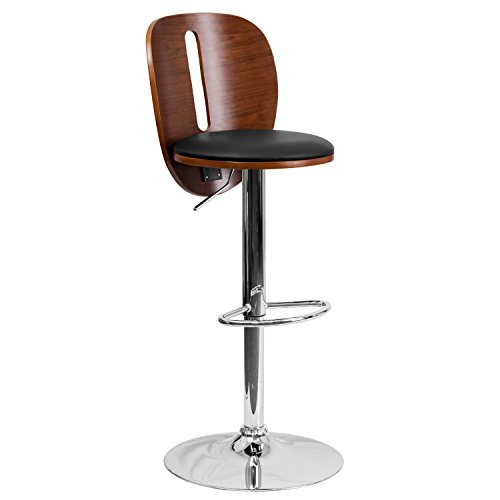 - Flash Furniture Walnut Bentwood Adjustable Height Barstool with Cutout Back and Black Vinyl Seat