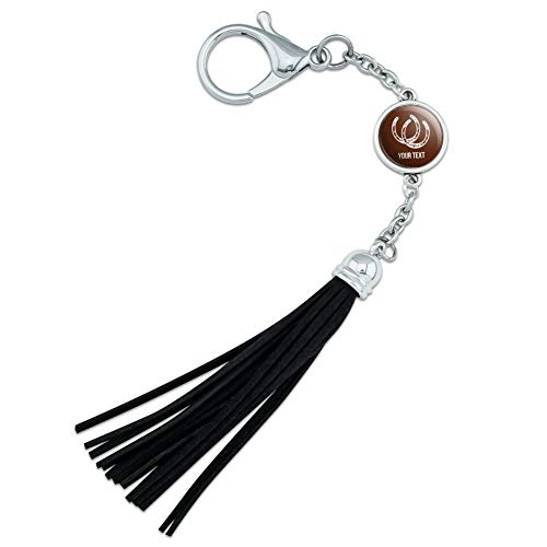 Personalized Custom 1 Line Lucky Horseshoes Cowboy Cowgirl Backpack Handbag Purse Sports Bottle Keychain Leather Tassel Charm from GRAPHICS & MORE