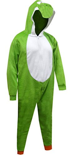 Nintendo Super Mario Yoshi One Piece Pajama for Men (Green, L/XL)