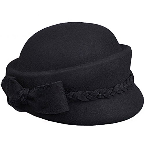 Lujuny Classical 100% Wool Pillbox Beret Hats For Women - Winter Autumn Girls Stewardess Cap With Bowknot Decoration (Black)