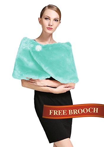 Aqua Blue Fur (Faux Fur Wrap Shawl Women's Shrug Bridal Stole for Winter Wedding Party Free Brooch Aqua Blue)