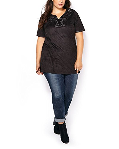 Penningtons Womens Plus Size Short Sleeve Faux-Suede Tunic Black 4X