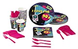 Disposable Dinnerware Set - Serves 24-90s Party Supplies for Kids Birthdays, 1990s Themed Parties, Includes Plastic Knives, Spoons, Forks, Paper Plates, Napkins, Cups