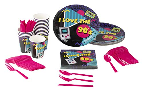 Disposable Dinnerware Set - Serves 24-90s Party Supplies for Kids Birthdays, 1990s Themed Parties, Includes Plastic Knives, Spoons, Forks, Paper Plates, Napkins, Cups by Blue Panda (Image #7)