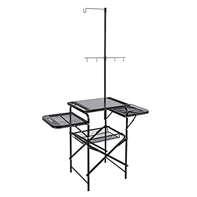 TOMSHOO Steel Folding Grill Pack-Away Table Camping Kitchen Vegetable Fruit Storage Basket Rack Stand Portable BBQ Organizer for Outdoor Fishing Garden Barbecue Picnic