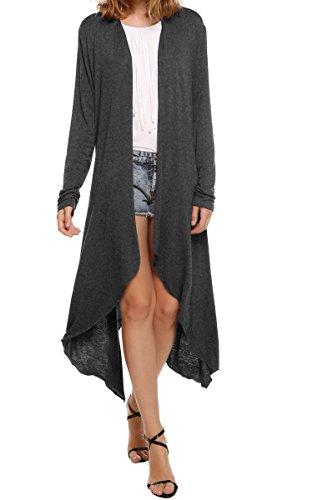 Meaneor Women's Long Sleeve Waterfall Asymmetric Drape Open Long Maxi Cardigan,  XX-Large, Dark ()