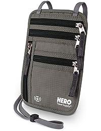 HERO Neck Wallet – RFID Blocking Passport Holder – Easy to Conceal Travel Pouch