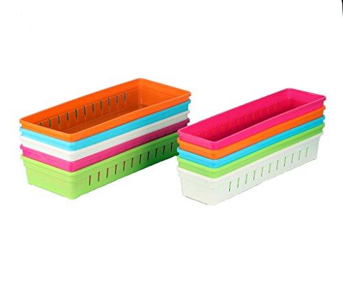 Focussexy Adjustable Plastic Drawer Organizer Flatware Organizer