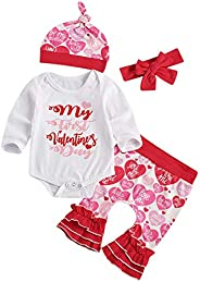 xiqaalombvt 4Pcs Newborn Girl My First Valentine Outfit Long Sleeve Romper Bodysuit & Ruflle Bell Bottom P