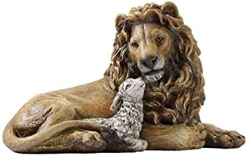 Lion and Lamb Laying Together Religious Christmas Figurine