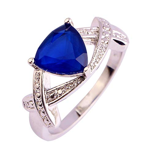 (Psiroy Women's 925 Sterling Silver Created Blue Sapphire Filled Trillion Cut Twisted Band Promise Ring Size 8)