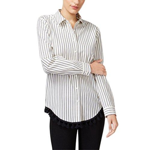 kensie Cotton Striped Tasseled Shirt White Medium -