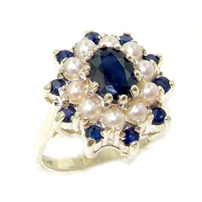 925 Sterling Silver Cultured Pearl & Sapphire Womens Cluster Ring EDssnoo11
