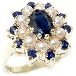 14k White Gold Natural Sapphire and Cultured Pearl Womens Cluster Ring - Sizes 4 to 12 Available