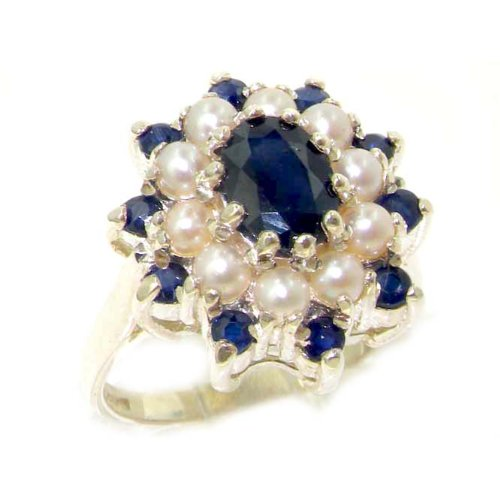 925 Sterling Silver Natural Sapphire and Cultured Pearl Womens Promise Ring - Size 11.5 ()
