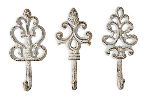 Shabby Chic Cast Iron Decorative Wall Hooks - Rustic - Antique - French Country Charm - Large Decorative Hanging Hooks - Set of 3 - Screws and Anchors for Mounting Included (Shabby Long White Mirror Chic)