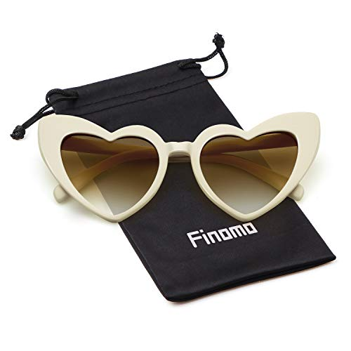 Gafas mujeres sol del UV400 gran Beige Marrón las de Lente de Finomo Mujeres Gafas tamaño corazón Marco de 8dqfwx