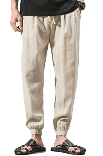 X-Future Mens Leisure Drawstring Solid Color Slim Linen Jogger Relaxed Fit Harem Pants Beige S (Plain Front Pants Week)