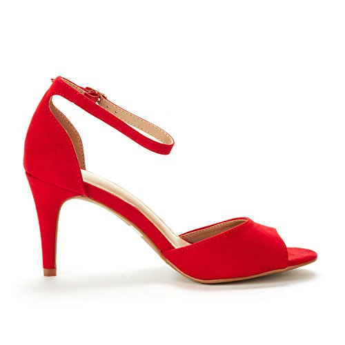 Pump Fashion Peep Women's EILEENA Toe Heel DREAM Red Sandals PAIRS AqRFwRY