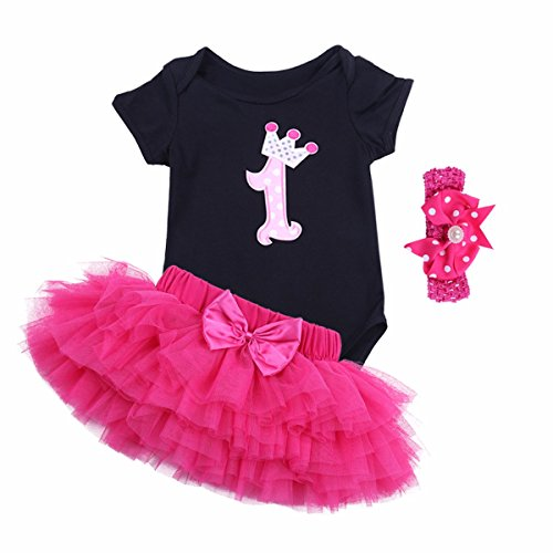 FEESHOW Baby Girls 1st Birthday Outfit Romper Tutu Skirt with Headband Set Black Rose 12-18 Months (First Halloween Outfit)