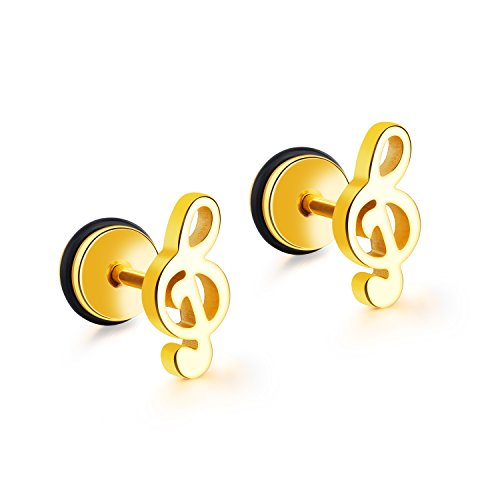 (3 Pairs Silver Black Gold Plated Stainless Steel Music Musical Note Stud Earrings For Men Boys)