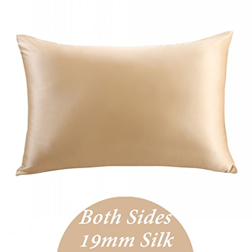 ZIMASILK 100% Mulberry Silk Pillowcase for Hair and Skin ,Both Side 19 Momme Silk, 1pc (Queen 20''x30'', Champagne),Gift Box (Silk Spray Perfume)