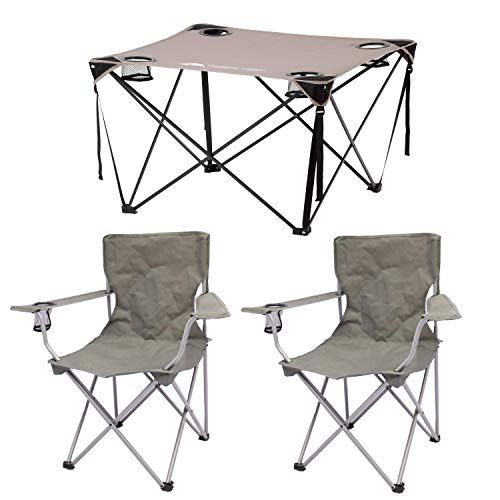 Ozark Trail Quad Folding Camp Chair 2-Pack in Gray Bundle with Ozark Trail Quad Folding Table with Cup Holders in Gray