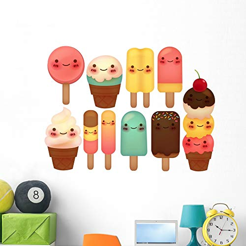 Wallmonkeys Set Lovely Ice Cream Wall Mural Peel and Stick Vinyl Graphic (48 in W x 36 in H) WM525386
