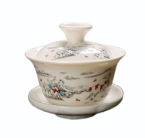 ufengke®Ceramic Porcelain kungfu Tea Bowl with Lid and Saucer-J Ufingo