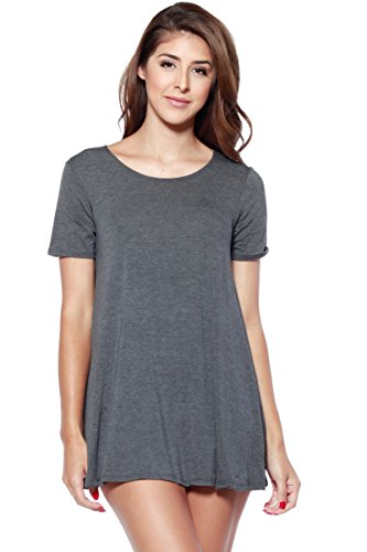 A+D Womens Loose Flowy Shortslv Crewneck Tunic Dress (S-3X) (Charcoal, Large)